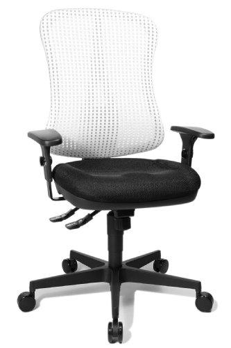 """Topstar HE20PBC03 Head Point SY \""""P4\"""", ergonomischer Bürostuhl, Schreibtischstuhl, Muldensitz, inkl. Armlehnen, Netzrücken, Stoffbezug schwarz/weiss"""
