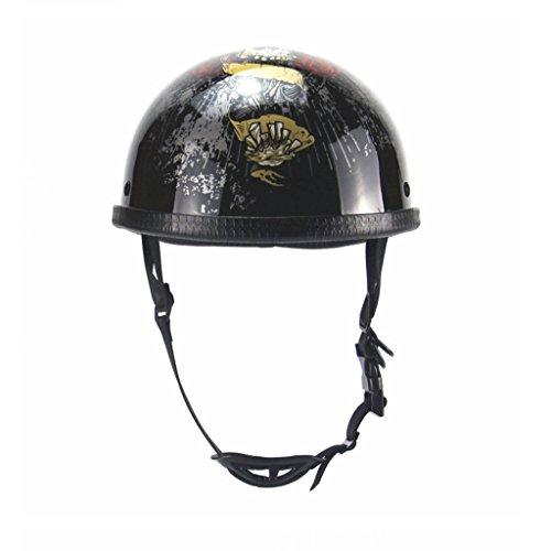 DGF Casque Rétro Demi-casque Harley Casques Demi-casque D'été Demi-casquette Mâle Et Femelle Motocyclettes Motos Casque De Vélo Électrique 55-60 CM (Couleur : Shine 1)