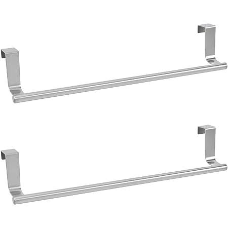 Aluminio transparente//plateado Tambi/én como percheros de puerta para trapos de cocina Toallero sin taladro para ba/ño InterDesign Metro Colgador de toallas para puerta