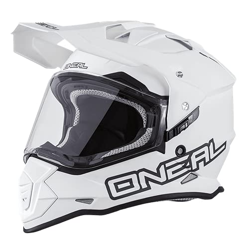 O'NEAL   Motorradhelm   Enduro Adventure Street   Ventilationsöffnungen für maximalen Luftstrom und Kühlung, ABS-Schale, integrierte Sonnenblende   Sierra Helmet Flat   Erwachsene   Weiß   Größe M
