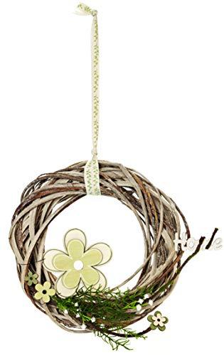 HEITMANN DECO Wandkranz mit Holz-Blume und Mini-Schriftzug Home - ALS Türkranz, Raumsschmuck und Tischdeko für Frühling und Sommer