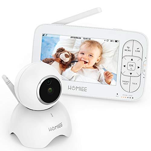 HOMIEE Baby Monitor con Cámara Video Baby Monitor 720P Inalámbrico Pantalla Digital LCD HD de 5 Pulgadas,  Temporizador de Alimentación,  Audio Bidireccional,  Alerta de Sonido y Temperatura