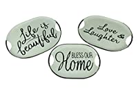 Things2Die4 Black and White Decorative Metal Trays with Life Love and Home Wording Set of 3 [並行輸入品]