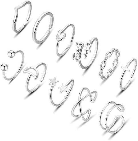Honsny 11Pcs Adjustable Rings for Women Knot Heart Star Moon Open Ring Set Stackable Thumb Rings product image