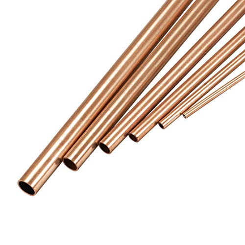 uxcell Copper Tube, 2mm 3mm 4mm 5mm 6mm 7mm OD x 0.5mm Wall Thickness 300mm Length Seamless Round Pipe Tubing, Pack of 6