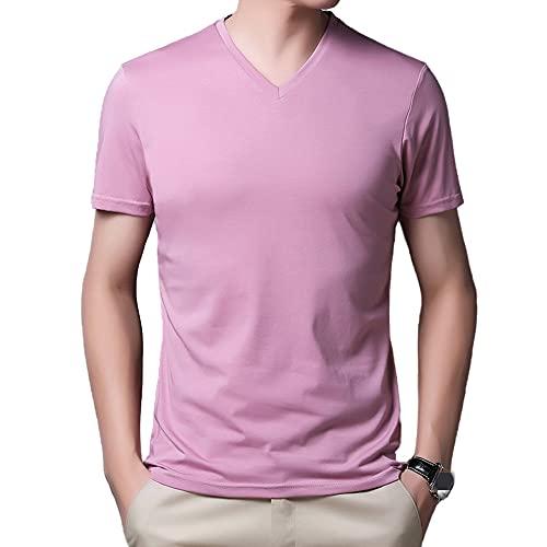 N\P Verano frío de manga corta camiseta de los hombres agradable a la piel casual de manga corta, Rosa V, 4XL