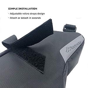 Beway - Bolsa para sillín de Bicicleta, con Correa y cuña para Bicicleta, Resistente al Agua, tamaño, Negro - Actualización