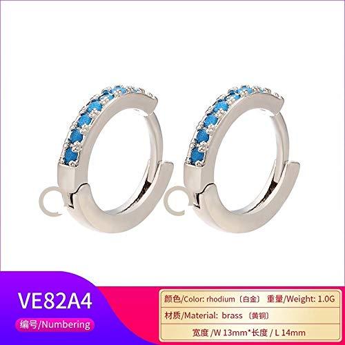 SHUX Ohrringe mit Creolen Zubehör Micro-Set Ohrringe Zubehör Ohrringe Mehrfarbige Ohrringe mit Creolen, Platin Türkis