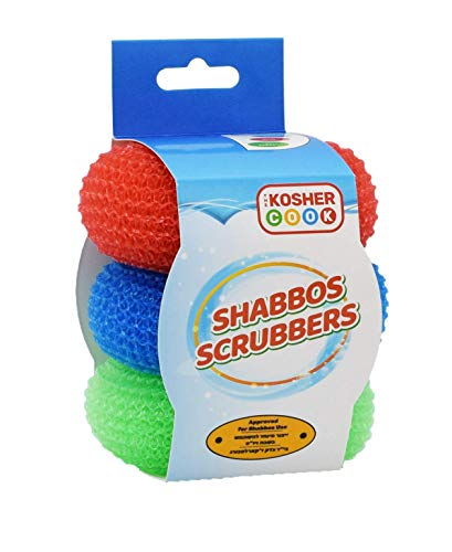 Shabbos Dish Cleaning Scrub – Red, Blue and Green 3 Pack - Dishwashing Scouring Pad Sponges for Shabbat – Comfortable Grip, Ergonomic Shape – Color Coded Home Accessories by The Kosher Cook