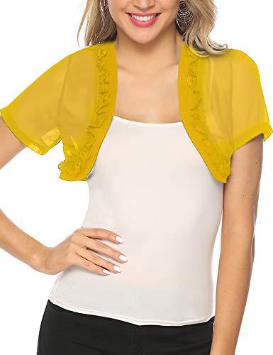 Aibrou Womens Short Sleeve lace Bolero Shrugs for Dresses See Through Short Cardigan for Women Yellow