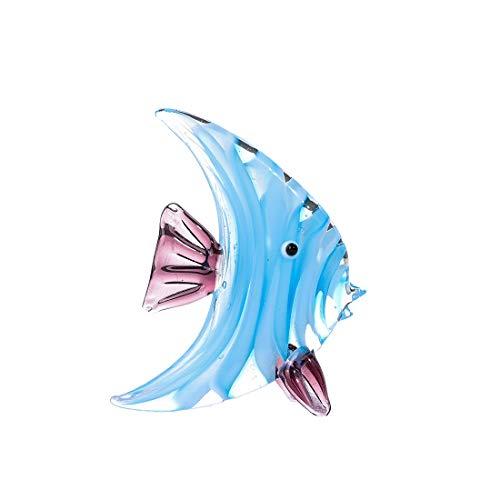 Crystalsuncatcher - Scultura in vetro con pesce tropicale blu, decorazione per la casa, ufficio, ornamento