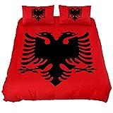Eslifey Bettwäsche-Set für Schlafzimmer, Motiv Flagge Albanien, weich, 150 x 200 cm, 3-teilig, Chemisches Gewebe, Mehrfarbig, Full 79 x 91 9 x 29 in