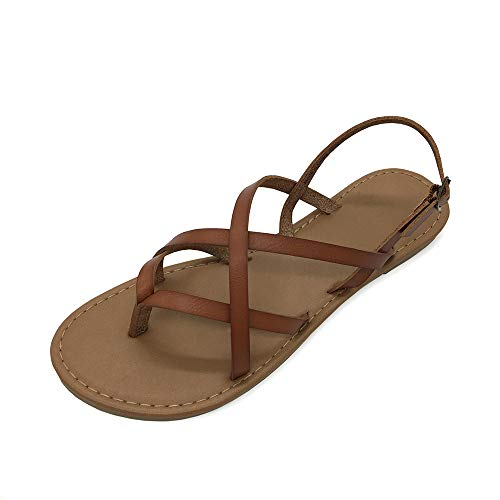Women's Gladiator Flat Sandals Fisherman Strappy Sandals Ankle Strap Sandals Brown