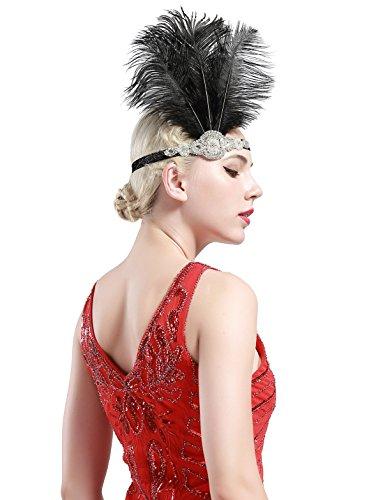 Babeyond Frauen Roaring Prom Ostrich Feder Stirnband Party Headwear 1920er Jahre Zubehör für Frauen Hyperbole Art Deco Style - 4
