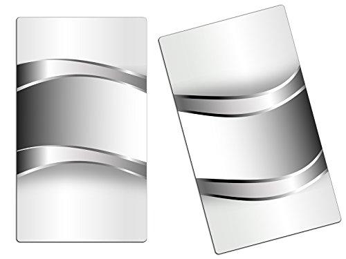 Herdabdeckplatte Schneidebrett Spritzschutz aus Glas, Multi-Talent HA44866304 Abstrakt Grau Variante 2er Set (2 Panels)