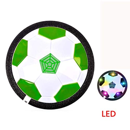 HEHEERHUO Air Football,Air Power Fußbal Hover Ball,Kinderspielzeug Fußball Hover Power Ball Spiele mit LED-Licht,Indoor Outdoor Spielzeug für Kinder,Grün,LED
