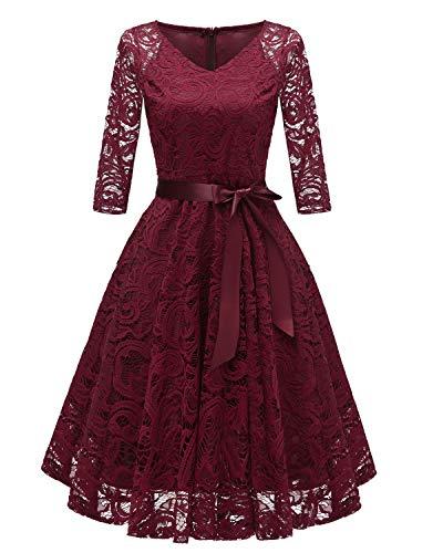 Viloree Vintage 50s Rockabilly Damen Spitze Kleider 3/4 Ärmel Festlich Party A-Linie Burgundy M