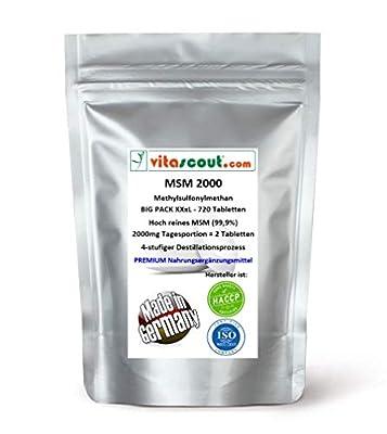 MSM - Methylsulfonylmethan - 720 Tabletten - 2000mg Tagesportion (=2 Tabletten) - 99,9% Reinheit - LABORGEPRÜFT - hochdosiert - MADE IN GERMANY