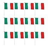 LIOOBO 50 Bandiera Italiana Sventolante Bandiera Tricolore con Frammenti su Bastoncini per...