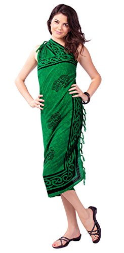 1 World Sarongs Womens Celtic Swimsuit Cover-Up Sarong Shamrock Trinity in Green