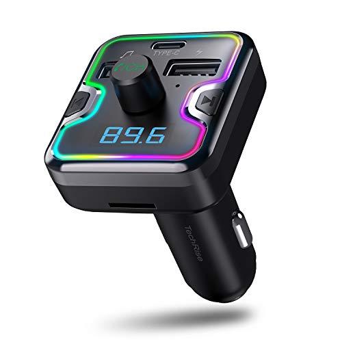 TechRise Fm Transmitter Bluetooth Auto 5,0 Kfz Radio Adapter mit 2 USB- und 1 Type-C Anschluss, 7-Farben-Umgebungslicht, unterstützt TF-Karte und USB-Stick