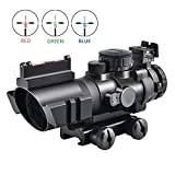 KINGSCOPE Tactical Rifle Scope 4X32mm Red/Green/Blue Illuminated Rapid Range Reticle Airsoft Red Dot