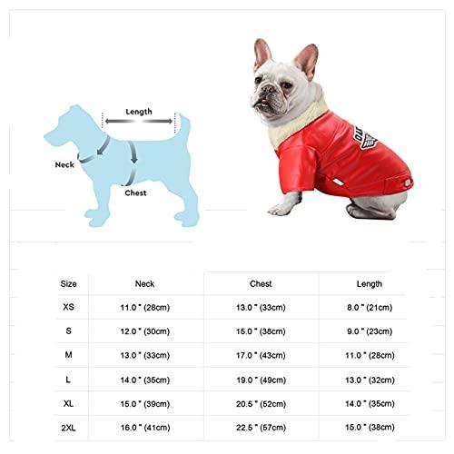 Chaqueta de Cuero Abrigo de Invierno cálido Ropa Ropa de Vestir de Vestimenta de Bulldog francés Abrigos para pequeños Perros Medios (Color : Pink, Size : M.)