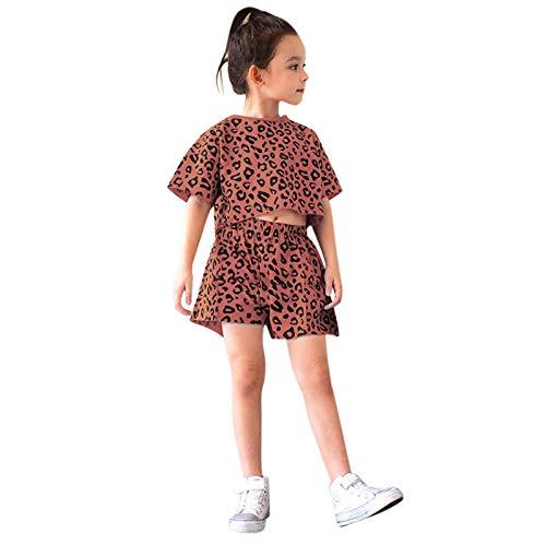YWLINK Conjunto De Top + Pantalones Cortos con Estampado De Leopardo De Manga Corta De Verano para NiñAs PequeñOs,Conjunto De Ropa De Verano,Estampado De Leopardo, Chaleco De Manga Corta