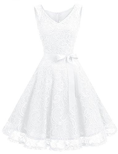 Dressystar DS0010 Brautjungfernkleid Ohne Arm Kleid Aus Spitzen Spitzenkleid Knielang Festliches Cocktailkleid Weiß S