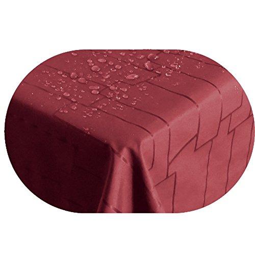"""Stofftischdecke Farbe und Größe wählbar - Royal Steine TEFLON Oval ca. 140 x 200 cm Rot Tischdecke"""" Kein Wachstuch"""" Gartentischdecke"""
