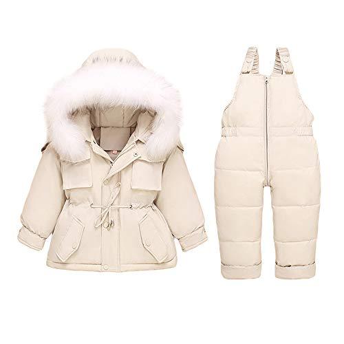 Bébé Doudoune + Pantalon 2PC Set Hiver Combinaison de Neige pour Garçons Filles, Tenues Capuche Doudoune Veste Ski Vêtements Chauds pour Enfants 2-3 Ans Blanc