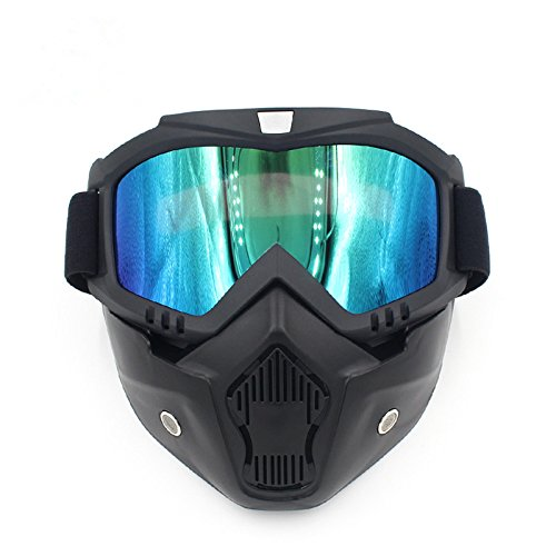 Ubelly Motorcycle Goggles with Detachable Mask, Motocross Riding Cycling Motorbike ATV Dirt Bike Racing Off Road Cosplay Goggle Glasses,Adjustable Non-Slip Strap Retro Harley Helmet Goggles