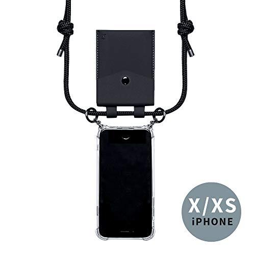 phonecover lover für iPhone X/XS - Handy-Kette für Smartphones mit Tasche als Kartenetui für Kleingeld - Stabile Handyhülle zum Umhängen für Dein iPhone - Smartphone Necklace (Schwarze Tasche)