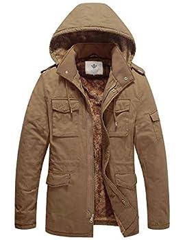 WenVen Men s Winter Business Casual Parka Jacket with Hood Khaki 3Xl