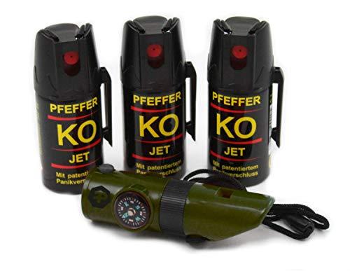 BALLISTOL Verteidigungsspray Pfeffer KO Jet 3 Dosen mit je 40 ml Pfefferspray bis zu 5 m Reichweite inkl. Signalpfeife 6in1