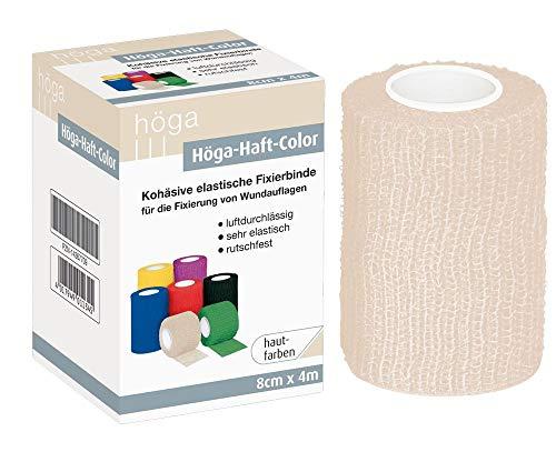 Höga Höga-Haft-Color 8cm x 4m, hautfarben, kohäsive (auf sich selbsthaftend) Fixierbinde, luftdurchlässig, sehr elastisch, rutschfest, 33 g
