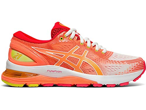 ASICS Women's Gel-Nimbus 21 SP Running Shoes, 8M, White/Sun Coral