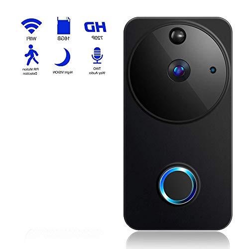 RUIXINBC Draadloze deurbel, draadloos, video-deurintercom met camera, startpagina wifi, draadloze bel, huisdeur, mobiele telefoon, WiFi, bewaking op afstand in real-time, 2,4 G WLAN