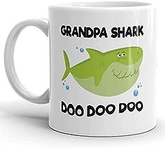 Retro Vintage Grandpa Shark Doo Doo Doo Mug, Father Shark, Grandfather Shark, Shark Family Mugs, Gift for Grandpa, New Grandpa Mug, Father's Day Gifts, Sarcastic Mugs, Memes Tea Cup, 11 oz Coffee Mug