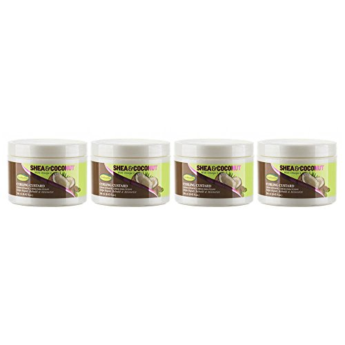 GroHealthy Shea & Coconut Curling Custard Hair Treatment with Omega 3 (8.8 oz) pack of 4