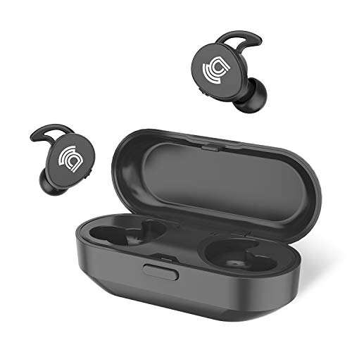 asseso TS1 True Wireless Earbuds, Bluetooth 5.0 Deep Bass Stereo Headphones with Charging Case, 20H Playtime, Microphone, Noise Isolating, IPX5 Waterproof Earphones for Gym, Workout, Sports, Running