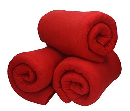 Betz 3 Stück Fleecedecke Kuscheldecke Wohndecke in Größe 130x170 cm Qualität 220 g/m Farbe rot