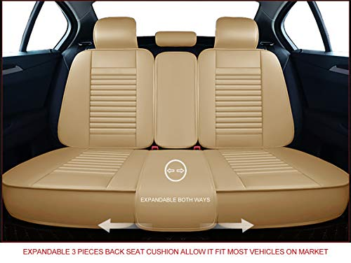 OASIS AUTO OS-008 Leather Car Seat Covers Front, Brown Faux Leatherette Automotive Vehicle Cushion Cover for Cars SUV Pick-up Truck Universal Fit Set for Auto Interior Accessories