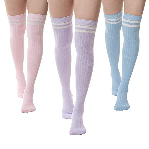 Pack of 3 Striped Thigh High Cable Knit Socks (Pink, Baby Blue, Mauve)