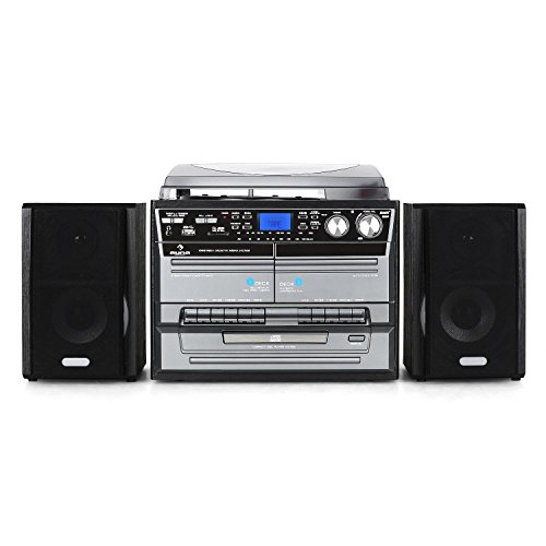 comparateur AUNA TC-386 – Stéréo, CD, platine vinyle, double enregistreur K7, radio FM, USB / SD / MP3, platine MP3 et codage audio, noir