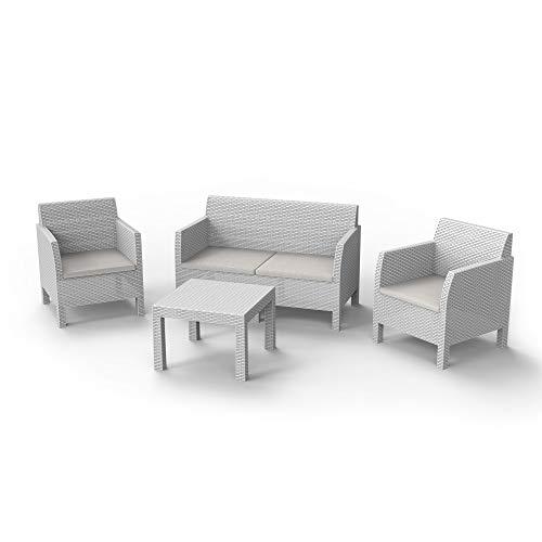 Toomax Set mobili da Giardino Matilde 4 posti, Composto da DIVANETTO A 2 POSTI, 2 POLTRONE E TAVOLINO, in Resina Anti-UV ed intemperie, Colore Bianco, Art 114