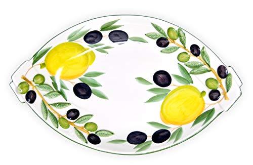 Lashuma Flache Keramik Obstschale, Handbemalte Italienische Anrichteplatte Oval, Motiv: Zitrone - Oliven Größe 32 x 20 cm