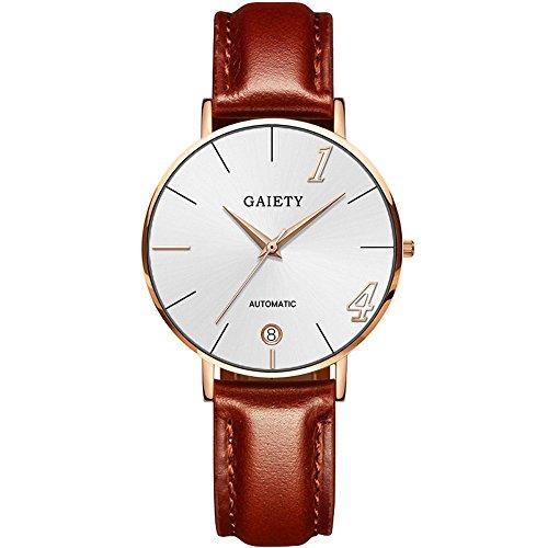 Suitray Herren Damen Armbanduhr, Liebhaber Lovers Armbanduhr Analoge Quarzuhr Beiläufig Uhr Geschenk,Runde Zifferblattgehäuse Lederband Uhren
