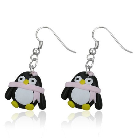 Boucles d'oreilles style manga petit pingouin echarpe rose