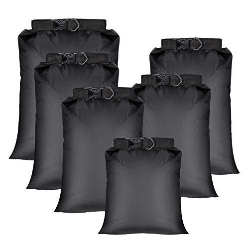 WIFUN 6-teiliges Set wasserdichte Trockentaschen, leicht, tragbar, wasserdicht, Kombi-Tasche (1,5 l + 2,5 l + 3 l + 3,5 l + 5 l + 8 l) für Outdoor, Wandern, Angeln, Camping.